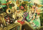 alice_(wonderland) alice_in_wonderland bird bow bowtie brick_wall broken_heart bunny card castle cat cheshire_cat cup diamond diamond_(shape) dress elbow_gloves flag glasses gloves green_eyes grin hair_bow hands_on_headphones hat headphones heart highres long_hair multiple_girls mushroom orange_hair pantyhose playing_card pocket_watch polearm queen_of_hearts rabbit red_hair redhead ribbon saucer scenery smile spear spoon stopwatch striped striped_legwear teacup teeth top_hat tree umbrella watch weapon whiskers white_rabbit wyx2