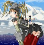 2girls aichi_e16a airplane anchor battleship blonde_hair blue_eyes clouds elbow_gloves garter_straps giantess gloves gun ketsune_uron kii_(yamato-successor) leaning_forward long_hair looking_at_viewer military multiple_girls ocean original personification red_footwear ship skirt smokestack thigh-highs turret warship weapon
