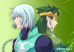 aqua_eyes butterfly circlet green_background green_hair long_hair male multiple_boys tales_of_(series) tales_of_rebirth tytree_crowe veigue_lungberg white_hair yellow_eyes ytk