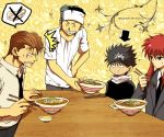 4boys annoyed black_hair brown_hair food formal grin hiei jungyun99 kurama kuwabara_kazuma long_hair male_focus multiple_boys necktie redhead sitting smile suit table urameshi_yuusuke yuu_yuu_hakusho