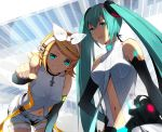 :p aqua_eyes aqua_hair belt blonde_hair breasts center_opening elbow_gloves gloves hair_ornament hair_ribbon hairclip hatsune_miku hatsune_miku_(append) headphones kagamine_rin kagamine_rin_(append) leaning_forward long_hair looking_at_viewer miku_append multiple_girls navel necktie pointing pointing_at_viewer ribbon sakuyamochi short_hair shorts smile tongue twintails vocaloid vocaloid_append