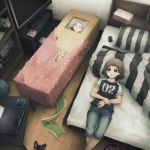 android bed bedroom bookshelf box brown_hair clone commentary computer computer_mouse controller cyberpunk dual_persona empty_eyes game_controller gift girl_in_a_box in_box in_container laptop lying manga multiple_persona on_back on_bed original otaku pillow room science_fiction sega_saturn striped television yajirushi_(chanoma)