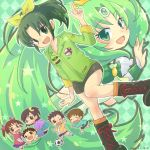 3girls ball boots bow brown_eyes brown_hair cure_march dual_persona english_flag green_eyes green_hair long_hair midorikawa_haru midorikawa_hina midorikawa_keita midorikawa_kouta midorikawa_nao midorikawa_yuuta multiple_boys multiple_girls open_mouth pointing ponytail precure shorts siblings side_ponytail sleeves_rolled_up smile smile_precure! soccer_ball tri_tails twintails very_long_hair