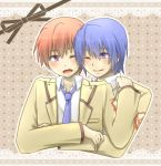 angel_beats! blue_hair brown_hair hinata_(angel_beats!) hug hug_from_behind kurusuma male multiple_boys otonashi_(angel_beats!) purple_eyes school_uniform short_hair violet_eyes wink