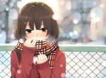blush breath brown_eyes brown_hair bust cardigan chainlink_fence cold hair_ornament hairclip holding nuko_(mikupantu) original scarf sleeves_past_wrists snow snowing solo strap