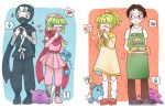 ditto dual_persona green_hair heart magical_pokemon_journey marill pokemon spoken_flower spoken_heart spoken_sweatdrop sweatdrop