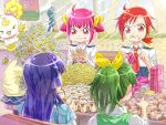 5girls aoki_reika blue_hair bow candy_(smile_precure!) card cardigan crumbs drink eating food food_on_face french_fries green_hair hair_bow hair_ornament hairclip hamburger hino_akane hoshizora_miyuki kise_yayoi mcdonald's mcdonald's midorikawa_nao multiple_girls ootani_ikue owarine_miku pikachu pink_eyes pink_hair pokemon precure red_eyes red_hair redhead school_uniform seiyuu_connection sitting sleeves_rolled_up smile_precure! spongebob_squarepants spongebob_squarepants_(character) sweater_vest tail tail_wagging toy trading_card wolfrun