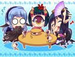 black_hair blue_eyes blue_hair blush chibi cyclops feathered_wings feathers game_cg harpy horns japanese_clothes long_hair mamono_musume-tachi_to_no_rakuen_~kumo_to_tori_to_hitotsume_to~ mamonomusume_to_no_seikatsu monster_girl multiple_girls one-eyed open_mouth short_hair smile spider_girl