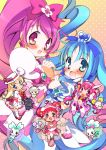 animal arms_up ashita_no_nadja blonde_hair blue_eyes blue_hair blush boots bow c.jam-packed candy_(smile_precure!) character_request child chocolat_(ashita_no_nadja) chypre_(heartcatch_precure!) coffret_(heartcatch_precure!) company_connection cream_(ashita_no_nadja) cure_blossom cure_happy cure_marine dodo_(ojamajo_doremi) double_bun gradient gradient_background hair_bow hanasaki_tsubomi happy harukaze_doremi heartcatch_precure! hoshizora_miyuki kurumi_erika lion long_hair magical_girl multiple_girls nadja_applefield ojamajo_doremi pink_background pink_eyes pink_hair ponytail precure short_hair skirt smile_precure! toei_animation touei twintails wrist_cuffs yellow_background