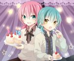 :d :o aqua_eyes aqua_hair cake cardigan food fork fruit holding holding_fork inazuma_eleven inazuma_eleven_(series) inazuma_eleven_go izumi39 kariya_masaki kirino_ranmaru male multiple_boys necktie open_mouth pink_hair plaid plaid_shirt plate ribbon slice_of_cake smile star strawberry sweater twintails yellow_eyes