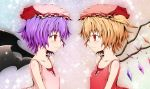 blonde_hair blush eye_contact flandre_scarlet flat_chest hat kotaka looking_at_another multiple_girls purple_hair red_eyes remilia_scarlet siblings sisters smile symmetry touhou wings