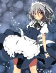 1girl apron blue_dress blush braid dress grey_eyes izayoi_sakuya looking_at_viewer maid maid_headdress oniku-chan puffy_sleeves shirt short_sleeves silver_hair smile solo touhou twin_braids waist_apron wrist_cuffs