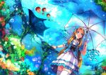 1girl blonde_hair blue_eyes dress flower jellyfish long_hair manta_ray original umbrella underwater whale zhuxiao517