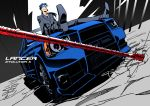 blue_hair car dutch_angle fate/stay_night fate_(series) formal gae_bolg high_contrast lancer long_hair male mitsubishi mitsubishi_lancer motor_vehicle namesake object_namesake polearm ponytail red_eyes sexy44 solo spear suit vehicle weapon