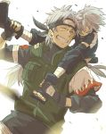 2boys carrying closed_eyes father_and_son forehead_protector gloves grin hatake_kakashi hatake_sakumo male multiple_boys naruto short_hair shoulder_carry silver_hair smile yuuki_chitose