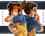 ball brown_hair endou_mamoru goggles headband inazuma_eleven inazuma_eleven_(series) kidou_yuuto male multiple_boys shirou_(j00630) soccer_ball sweat title_drop wink wiping_sweat