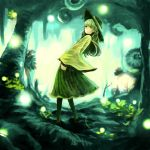 1girl buruxugi forest glowing green_eyes green_hair hat hat_ribbon highres komeiji_koishi long_hair long_sleeves looking_at_viewer nature ribbon shirt skirt snail solo touhou turning wide_sleeves