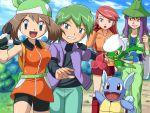 bandana bike_shorts bouncing_breasts breasts harley_(pokemon) haruka_(pokemon) haruka_(pokemon)_(remake) hat pokemoa pokemon pokemon_(anime) pokemon_(creature) pokemon_(game) pokemon_rse roserade saori_(pokemon) shuu_(pokemon) wartortle