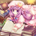 book crescent hat long_hair mineko patchouli_knowledge purple_eyes purple_hair solo touhou violet_eyes