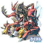 1girl aburaya_tonbi baltoy blaziken meowth pikachu pixiv_trainer pokemon pokemon_(creature) pokemon_trainer relicanth scizor