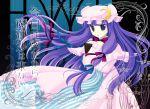 bad_id book crescent hat long_hair natsukawa_sarasa patchouli_knowledge purple_eyes purple_hair ribbon solo touhou violet_eyes