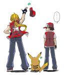 1other 2boys animal ass back baseball_cap blonde_hair creatures_(company) denim fatal_fury from_behind game_freak gen_1_pokemon hat human jeans long_hair mouse mouse_tail multiple_boys nintendo niyasu no_eyes no_mouth olm_digital pants pikachu pokemon pokemon_(anime) pokemon_(creature) pokemon_(game) pokemon_rgby ponytail red_(pokemon) snk sora_(company) star star_print super_smash_bros. terry_bogard the_king_of_fighters throwing_hat torn_clothes torn_sleeves tv_tokyo vest