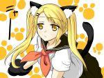 animal_ears blonde_hair cat cat_ears cat_tail gloves kamemasa kirishima_kotone nyan_koi nyan_koi! paw_gloves school_uniform serafuku tail