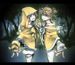 blonde_hair blue_eyes fingerless_gloves forest gloves hand_holding holding_hands kagamine_len kagamine_rin nature outstretched_arm outstretched_hand reaching siblings suzunosuke_(sagula) twins vocaloid