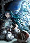 blue_hair floating_hair helmet highres kneeling long_hair planet reflection ribbon solo space spacesuit very_long_hair yasu_sakana zero_gravity