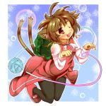 brown_hair cat_ears cat_tail chen hat multiple_tails niji_sugi pantyhose red_eyes short_hair solo tail touhou