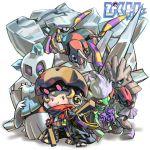 ariados chibi froslass hitmonchan kabuto_(pokemon) pixiv_trainer pokemon roserade scarf steelix