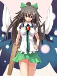 bow cape hair_bow hand_on_hip long_hair okaki orange_eyes reiuji_utsuho skirt smile touhou wings