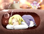 angry battle blonde_hair bow bubble closed_eyes crescent crescent_moon hair_bow miki_plus miki_purasu moriya_suwako patchouli_knowledge purple_hair skirt sleeping thigh-highs thighhighs top-down_bottom-up touhou touhou_hisoutensoku
