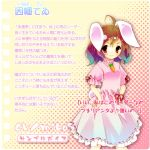 animal_ears brown_hair bunny_ears carrot dress gradient_hair hands_on_hips inaba_tewi jewelry kamiya_yuu multicolored_hair necklace rabbit_ears red_eyes touhou translation_request