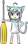 ahoge animal_ears aqua_hair cat_ears cat_tail meganeinu oversized_object red_eyes screwdriver tail twit-tan twitter
