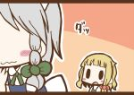 adomi blonde_hair braid comic hand_to_own_mouth hat hat_removed headwear_removed izayoi_sakuya kirisame_marisa maid millipen_(medium) no_eyes open_mouth short_hair silver_hair solid_oval_eyes touhou traditional_media twin_braids wavy_mouth