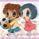 1girl ball blue_eyes blue_hair brown_hair chibi inazuma_eleven inazuma_eleven_(series) inazuma_eleven_go matsukaze_tenma open_mouth running short_hair soccer_ball sorano_aoi tanba_anko young