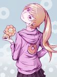 bakemonogatari blonde_hair blush doughnut fang head_tilt highres hoodie lion long_hair looking_back mister_donut monogatari_(series) nisemonogatari oshino_shinobu pon_de_lion ponytail shaft_look skirt smile solo yellow_eyes yoshikawa_kazunori