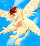 beak blue_eyes fang feathers flammie flying multiple_wings no_humans orange_hair seiken_densetsu seiken_densetsu_2 solo tail talons wings