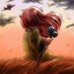 1girl feathers field from_behind hair_feathers long_hair lowres popoie red_hair redhead seiken_densetsu seiken_densetsu_2 solo