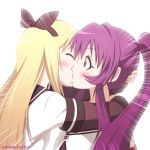 blonde_hair blush bow closed_eyes eyes_closed hair_bow hug kei-suwabe kiss long_hair multiple_girls ponytail purple_hair sugiura_ayano toshinou_kyouko yuri yuru_yuri