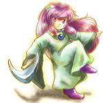 1girl androgynous boomerang facepaint long_hair male pink_eyes popoie seiken_densetsu seiken_densetsu_2 solo tunic