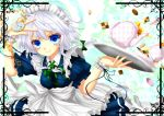 apron bi_jun blue_eyes colored cookie cup floating_object food izayoi_sakuya lavender_hair maid maid_headdress pocket_watch puffy_sleeves ribbon short_hair short_sleeves solo sweatdrop tablet teacup teapot touhou twintails v watch wrist_cuffs