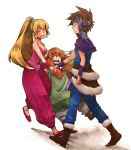 1boy 2boys 2girls androgynous bare_shoulders blonde_hair breasts brown_hair capelet cleavage closed_eyes earrings eyes_closed fur_trim hand_holding headband height_difference holding_hands hoop_earrings jewelry long_hair michibata_65 multiple_boys multiple_girls ponytail popoie puffy_pants purim randi red_hair redhead seiken_densetsu seiken_densetsu_2 spiked_hair spiky_hair