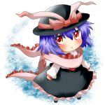blush chibi hat hat_ribbon nagae_iku open_mouth purple_hair rebecca_(keinelove) red_eyes ribbon shawl shirt short_hair skirt solo touhou