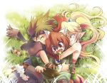 1boy 2boys 2girls ^_^ androgynous bare_shoulders blonde_hair brown_hair closed_eyes eyes_closed fang grass headband hug long_hair lying multiple_boys multiple_girls on_side pointy_ears ponytail popoie purim randi red_hair redhead seiken_densetsu seiken_densetsu_2 senya_kazuhi spiked_hair spiky_hair sweets vambraces