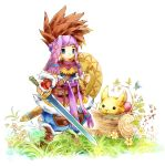 blue_eyes boots brown_hair chibi headband log monster rabite randi scabbard seiken_densetsu seiken_densetsu_2 seiko_p sheath shield spiked_hair spiky_hair sword weapon