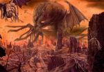 apocalypse city cityscape cloud cthulhu cthulhu_mythos dust flying highres hiyokemusi lovecraft monochrome monster nightgaunt no_humans red red_sky ruins screwed sky tentacle tentacles wings