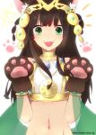 1girl :d animal_ears bastet_(p&d) brown_hair cat_ears cat_paws green_eyes jewelry midriff navel open_mouth paws puzzle_&_dragons smile yoshidau