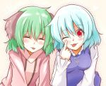 animal_ears blue_hair blush breasts closed_eyes dress eyes_closed green_hair kasodani_kyouko multiple_girls pointing red_eyes short_hair smile taka tatara_kogasa tongue tongue_out touhou wink
